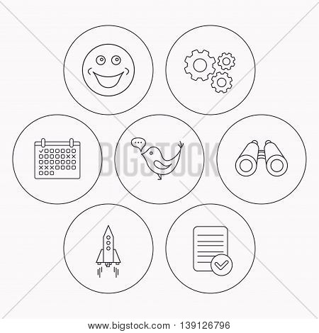 Rocket, social media and search icons. Smiling face linear sign. Check file, calendar and cogwheel icons. Vector