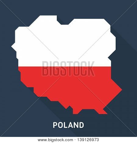 long shadow map and flag of Poland isolated on dark blue background. European country. Vector template for website, design, cover, infographics. Graph illustration.