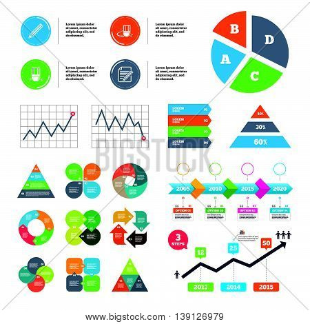 Data pie chart and graphs. Pencil icon. Edit document file. Eraser sign. Correct drawing symbol. Presentations diagrams. Vector