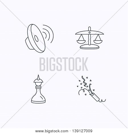 Scales of justice, sound and strategy icons. Slapstick linear sign. Flat linear icons on white background. Vector