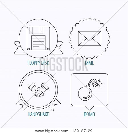 Mail, bomb and handshake icons. Floppy disk linear sign. Award medal, star label and speech bubble designs. Vector
