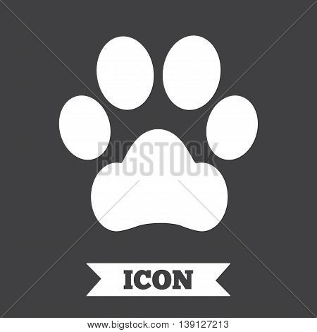 Dog paw sign icon. Pets symbol. Graphic design element. Flat dog paw symbol on dark background. Vector