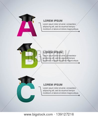Infographic education concept represented by graduation cap and letters icon. Colorfull and flat illustration.