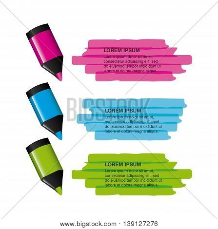 Infographic education concept represented by markers icon. Colorfull and flat illustration.