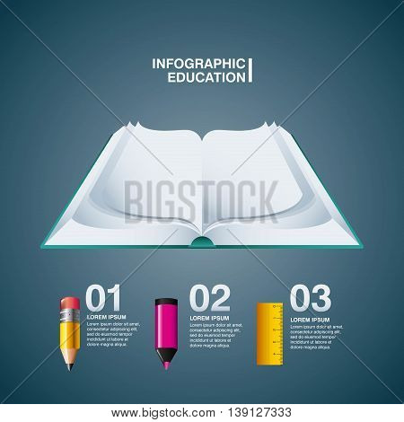 Infographic education concept represented by book pencil marker rule icon. Colorfull and flat illustration.