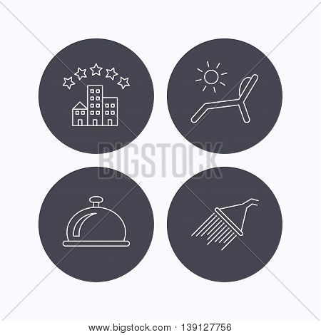 Hotel, shower and beach deck chair icons. Reception bell linear sign. Flat icons in circle buttons on white background. Vector