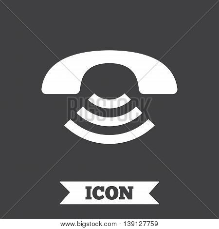 Phone sign icon. Support symbol. Call center. Graphic design element. Flat call symbol on dark background. Vector