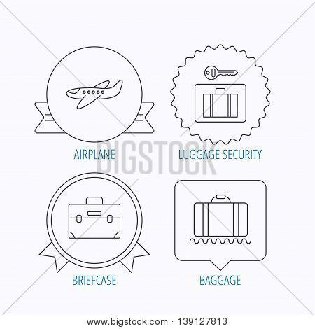Baggage, luggage security and airplane icons. Briefcase linear sign. Award medal, star label and speech bubble designs. Vector