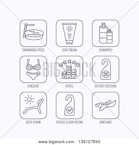 Hotel, swimming pool and beach deck chair icons. Sun cream, do not disturb and clean room linear signs. Shampoo and airplane icons. Flat linear icons in squares on white background. Vector