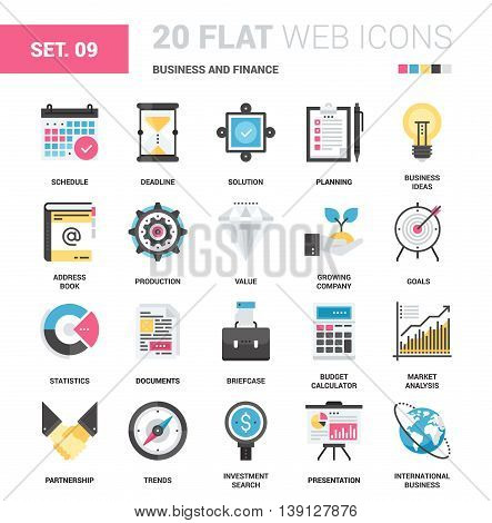 Vector set of business and finance flat web icons. Each icon with adjustable strokes neatly designed on pixel perfect 64X64 size grid. Fully editable and easy to use.