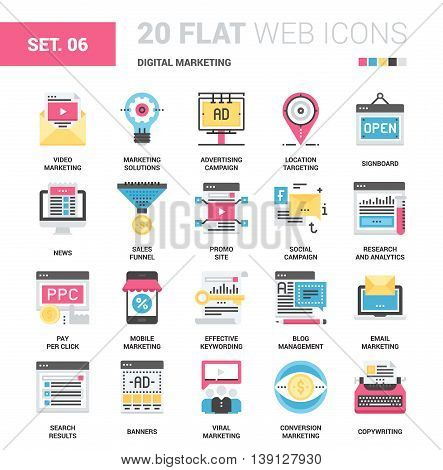 Vector set of digital marketing flat web icons. Each icon with adjustable strokes neatly designed on pixel perfect 64X64 size grid. Fully editable and easy to use.