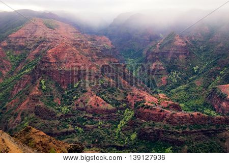Landscape View Of Waimea Canyon During Cloudy Weather, Kauai, Hawaii