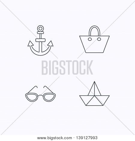 Paper boat, anchor and glasses icons. Ladies handbag linear sign. Flat linear icons on white background. Vector