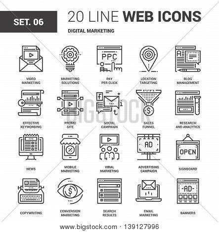 Vector set of digital marketing line web icons. Each icon with adjustable strokes neatly designed on pixel perfect 64X64 size grid. Fully editable and easy to use.
