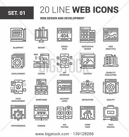 Vector set of web design and development line web icons. Each icon with adjustable strokes neatly designed on pixel perfect 64X64 size grid. Fully editable and easy to use.