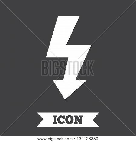 Photo flash sign icon. Lightning symbol. Graphic design element. Flat electrical energy symbol on dark background. Vector