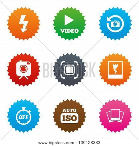 Photo, video icons. Camera, photos and frame signs. Flash, timer and macro symbols. Stars label button with flat icons. Vector
