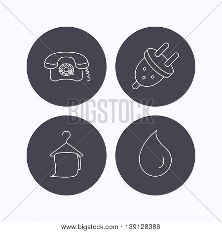 Retro phone, bath towel and electric plug icons. Water drop linear sign. Flat icons in circle buttons on white background. Vector