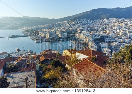 Panoramic view fortress to Kavala, East Macedonia and Thrace, Greece
