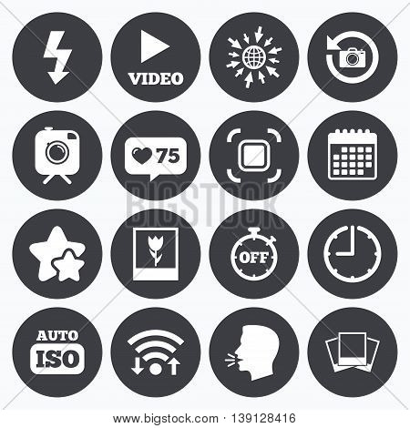 Calendar, wifi and clock symbols. Like counter, stars symbols. Photo, video icons. Camera, photos and frame signs. Flash, timer and macro symbols. Talking head, go to web symbols. Vector