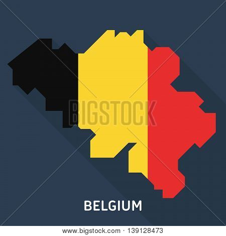 Country shape outlined and filled with the flag of Belgium isolated on blue background. European country. Vector template for website, design, cover, infographics. Graph illustration.