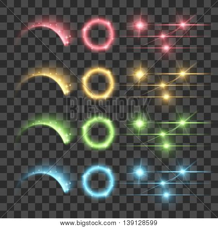Vector Highlight Firework Glow Lens Flare Luminescence Fluorescence Illumination Lights Isolated on Transparent Background