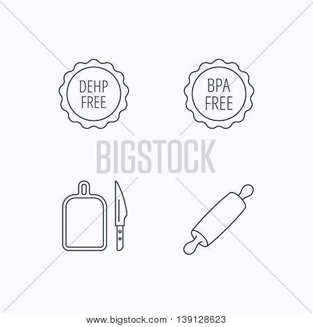 Rolling pin, separating board and knife icons. BPA, DEHP free linear signs. Flat linear icons on white background. Vector