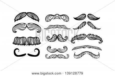 Black silhouette vector mustache. Mustache black hair and man mustache hipster set. Mustache retro curly black silhouette collection beard mustache. Mustache barber silhouette hairstyle