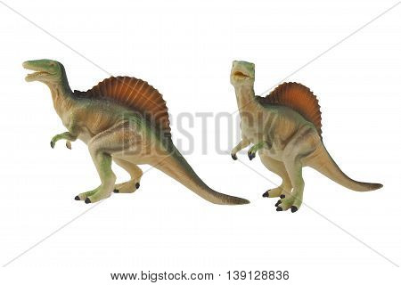 Isolated spinosaurus dinosaur profile and angle view toy photo.