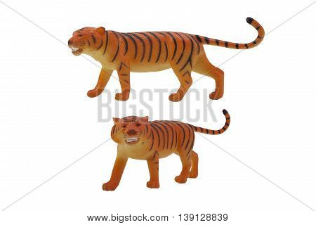 Isolated tiger toy profile and angle view photo.