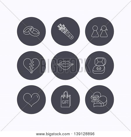 Love heart, kiss and wedding rings icons. Broken heart, couple and gift box linear signs. Valentine amour arrows flat line icons. Flat icons in circle buttons on white background. Vector