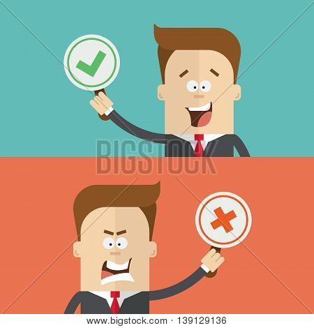 businessman or manager vote using paddles for and against. True or false. Happy and angry man in a business suit. The man close up. Cartoon flat vector illustration
