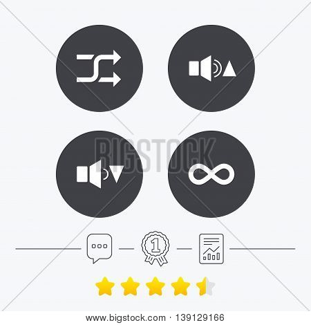 Player control icons. Sound louder and quieter signs. Dynamic symbol. Shuffle random and repeat loop. Chat, award medal and report linear icons. Star vote ranking. Vector