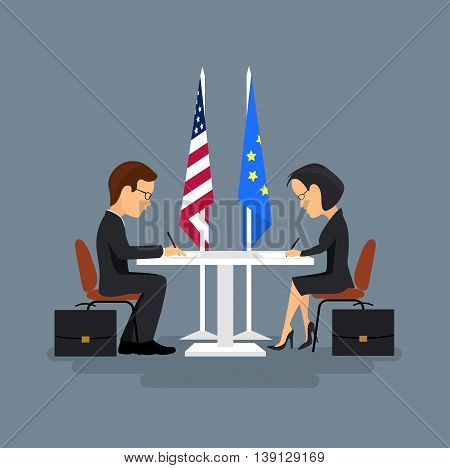 On the image is presented Business meeting of politicians,signing of agreements.Flat style