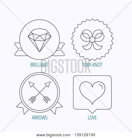 Love heart, brilliant and bow-knot icons. Arrows linear signs. Award medal, star label and speech bubble designs. Vector