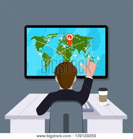 On the image is presented people working with computer controlling touch screen.