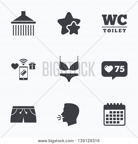 Swimming pool icons. Shower water drops and swimwear symbols. WC Toilet sign. Trunks and women underwear. Flat talking head, calendar icons. Stars, like counter icons. Vector