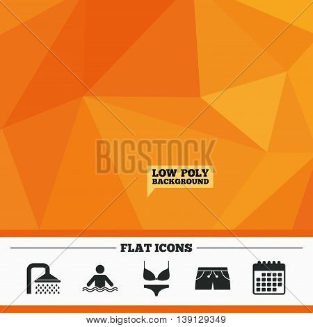 Triangular low poly orange background. Swimming pool icons. Shower water drops and swimwear symbols. Human stands in sea waves sign. Trunks and women underwear. Calendar flat icon. Vector