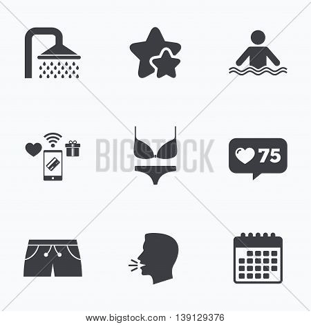 Swimming pool icons. Shower water drops and swimwear symbols. Human stands in sea waves sign. Trunks and women underwear. Flat talking head, calendar icons. Stars, like counter icons. Vector