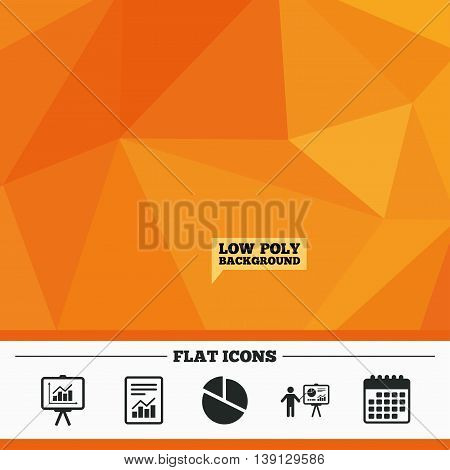 Triangular low poly orange background. File document with diagram. Pie chart icon. Presentation billboard symbol. Supply and demand. Calendar flat icon. Vector