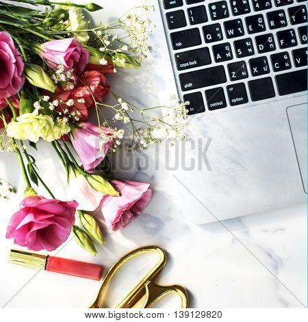 Flowers Lipgloss Laptop Desk Concept