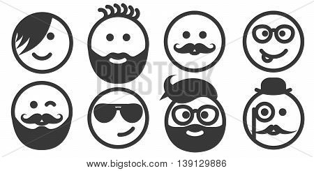Set of outline hipster emoticons, emoji isolated on white background, vector illustration