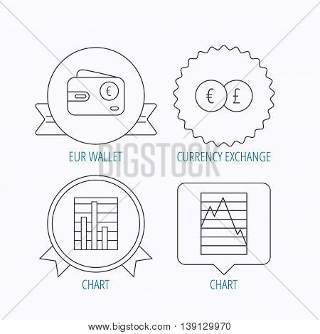 Currency exchange, chart and euro wallet icons. Statistics graph linear signs. Award medal, star label and speech bubble designs. Vector