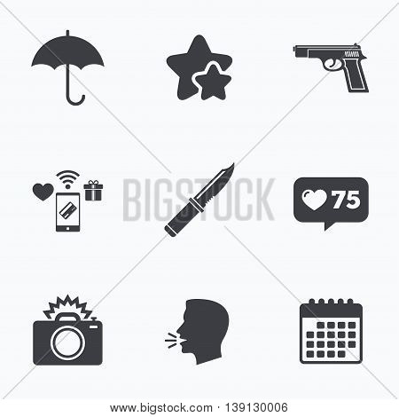 Gun weapon icon.Knife, umbrella and photo camera with flash signs. Edged hunting equipment. Prohibition objects. Flat talking head, calendar icons. Stars, like counter icons. Vector