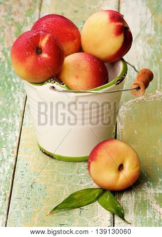 White Garden Bucket Full of Heap of Perfect Ripe Small Nectarines closeup on Cracked Wooden background