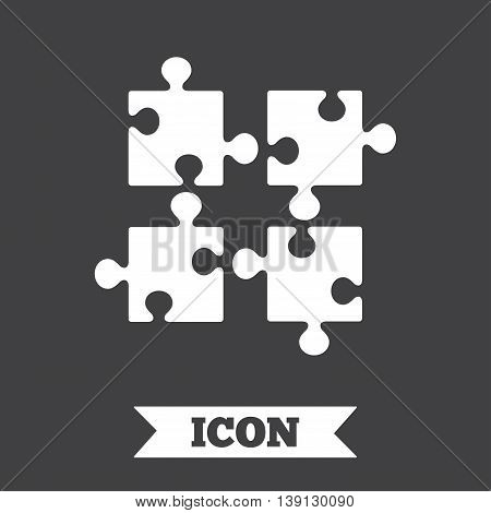 Puzzles pieces sign icon. Strategy symbol. Ingenuity test game. Graphic design element. Flat puzzle symbol on dark background. Vector