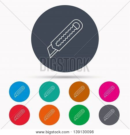 Paper knife icon. Cutter tool sign. Icons in colour circle buttons. Vector