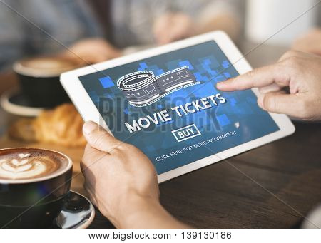 Movie Tickets Buying Entertainment Concept
