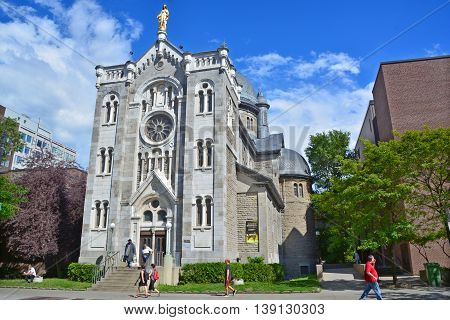 MONTREAL QUEBEC CANADA JULY 15 2016: Notre-Dame-de-lourdes chapel was designed by Napoleon Bourassa. this Romanesque gem was built by the Sulpicians in 1876 to cement their influence in Montreal