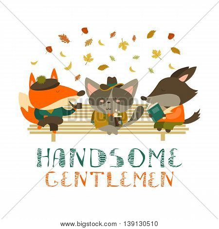 Cute animals sitting on bench. Vector isolated illustration